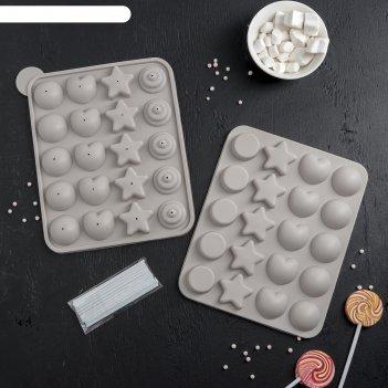 Форма для леденцов и мороженого 23х19х3 см сладости-радости, 20 ячеек, без