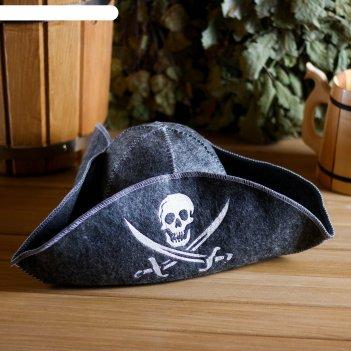 Банная шапка пират, войлок, серая