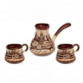 Кофейный набор турка большая украинская лепка 3 предмета: турка, 2 чашки