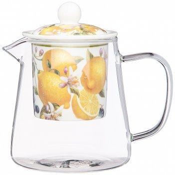 Чайник стеклянный с ситом lefard фрукты 500 мл (кор=36шт.)