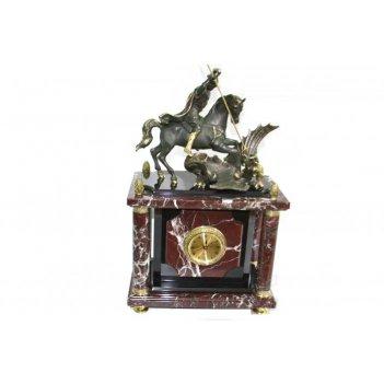 Часы настольные из яшмы с фигуркой георгия-победоносца