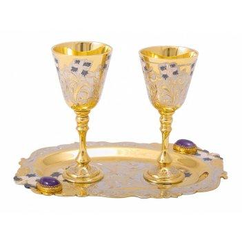 Набор водочный дуэт ( тарель, 2 рюмки ) златоуст