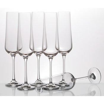Набор бокалов для шампанского из 6 шт. сандра 200 мл. высота=25 см. (кор=8