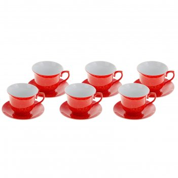 Сервиз чайный 12 предметов рио (чашка 180 мл, блюдце 14 см), красный