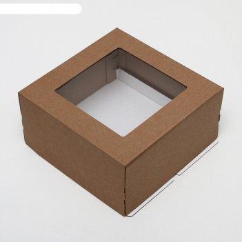Кондитерская упаковка с окном, крафт, 30 х 30 х 15 см