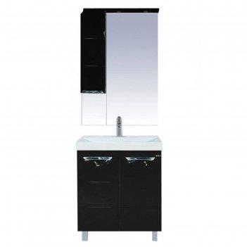 Шкаф-зеркало misty петра 65, левый, с подсветкой, черная эмаль