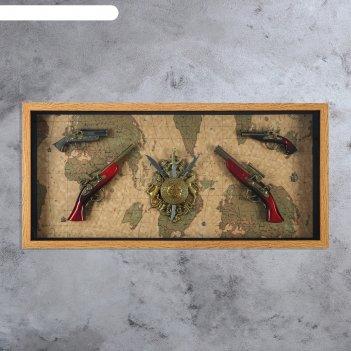 Сувенирное изделие в рами, четыре мушкета и геральдика n
