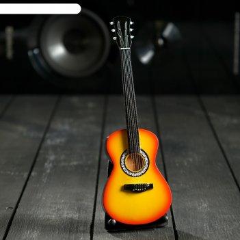 Гитара сувенирная акустическая жёлтая, на подставке 24х8х2 см