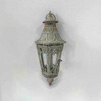 Фонарь садовый подвесной, под свечу,  белая патина