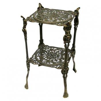 Столик квадратный 24х46 см, 2 полки, антик
