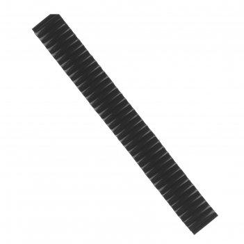 Ремешок для часов 12 мм, металл, протектор звенья объёмные, чёрный хром, 1