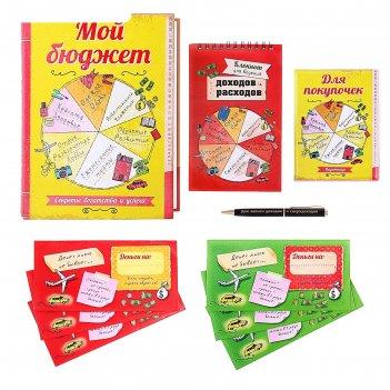 Набор в книге-шкатулке мой бюджет: конверты 6 шт.+блокнот+ручка+визитница
