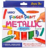 Краски пальчиковые, 5 цветов по 20 мл., металлик