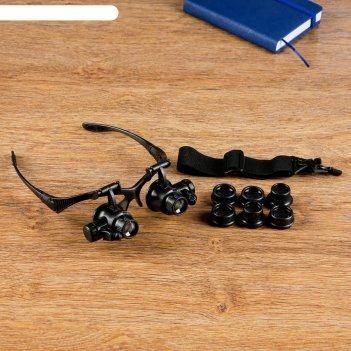 Лупа очки с подсветкой 14*14,5*7 см, 8 линз в комплекте,3 батарейки таблет