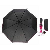 Зонт полуавтомат акцент, полуавтоматический, r=47см, цвет чёрный/розовый