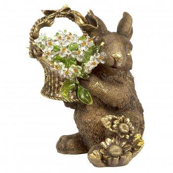 Статуэтка кролик с хрустальными цветами lt top