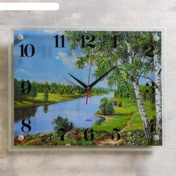 Часы настенные, серия: природа, река, 35х45  см, микс