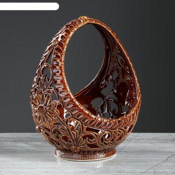 Конфетница лукошко коричневая резка