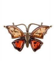 Am-180 фигурка-брошь бабочка (латунь, янтарь)