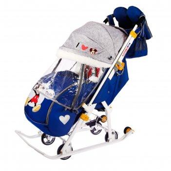 Санки коляска «disney-baby 2. микки маус», цвет тёмно-синий