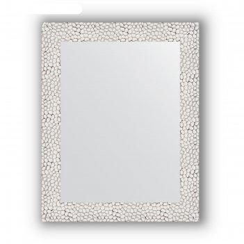 Зеркало в багетной раме - чеканка белая 46 мм, 38 х 48 см, evoform