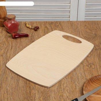 Доска разделочная деревянная бочонок, ручка вырез, 37x25x0,8 см