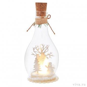 Композиция с подсветкой  в бутыле 2