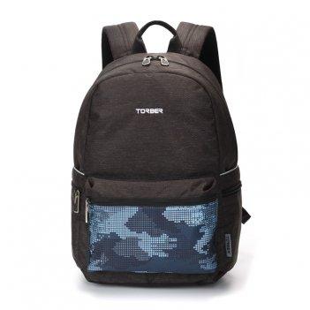 Рюкзак torber graffi, серый с карманом синего цвета, полиэстер, 44 x 31 x