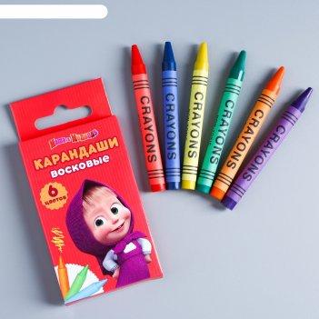 Восковые карандаши маша и медведь , набор 6 цветов, высота 1 шт - 8 см, ди