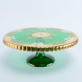 Тортница на ножке bohemia лепка зеленая e-s 32 см