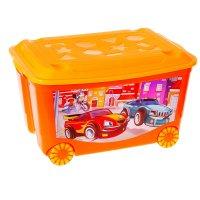 Ящик для игрушек на колесах машинки, с аппликацией, с крышкой, цвет оранже
