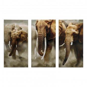 Картина модульная на подрамнике слоны 99x65 см. (3-33х65)