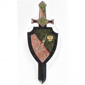 Настенные часы щит и меч змеевик креноид