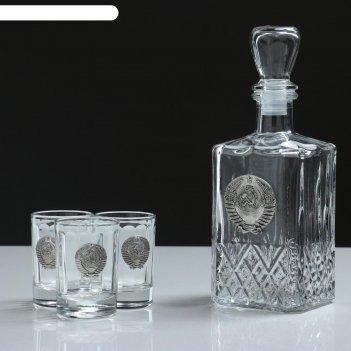 Набор для водки ссср 4 предмета, 500/50 мл, барельеф олово