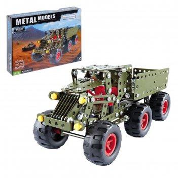 Конструктор металлический военный грузовик, 307 деталей