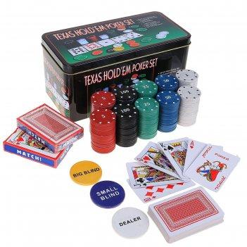 Набор для покера: 2 колоды карт 54 шт., 200 фишек с номиналом, игровое сук