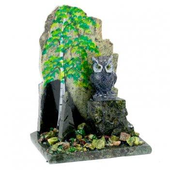Сувенир сова в лесу камень змеевик