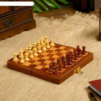 Шахматы дерево на магните 17,5х17,5х4 см