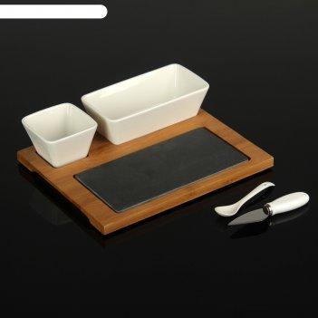 Набор для подачи блюд (соусник, салатник, нож, каменная доска) на подставк