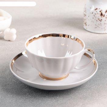 Чашка чайная с блюдцем 275 мл белый лебедь. московский, с отводкой