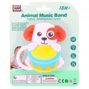 Погремушка музыкальная собачка с барабаном , звуковые эффекты, работает от