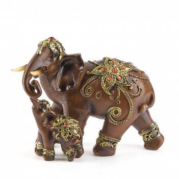Фигурка декоративная слониха со слонёнком 16*8*13см. (с декоративными стра