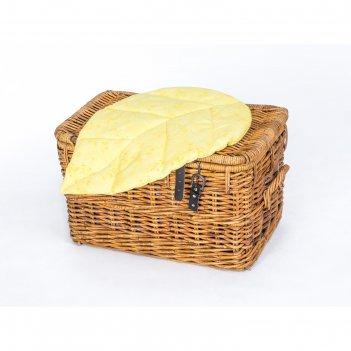 Подушка на стул листочек 67х45 см, жаккард желтый, синтетическое волокно