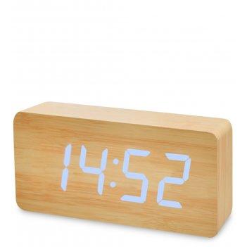 Ял-07-03/ 5 часы электронные бол. (жёлтое дерево с синей подсветкой)