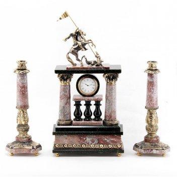 Каминные часы георгий победоносец с подсвечниками