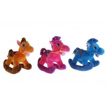 Мягкая игрушка лошадь качалка, цвета микс