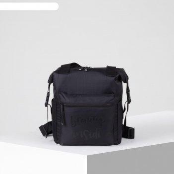 Сумка- рюкзак 1635, отд на молнии, н/карман, черный