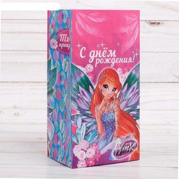 Пакет подарочный без ручек с днем рождения!, феи винкс, 10х19,5х7 см