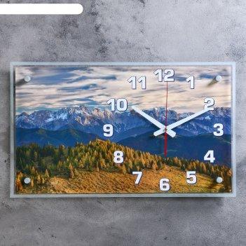 Часы настенные, серия: природа, умиротворение в горах, 36х60 см