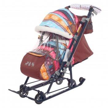 Санки-коляска «ника детям 7-7», цвет скандинавский розовый